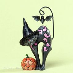 Jim Shore Mini Black Cat with Bat 4034439 NEW Halloween