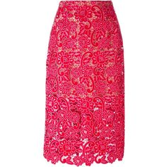 Marco De Vincenzo Lace Embroidered Skirt (103.540 RUB) ❤ liked on Polyvore featuring skirts, red, lacy skirt, pink lace skirt, embroidered skirt, marco de vincenzo and knee length lace skirt