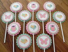 Cupcake Toppers: Rosa y verde bosque buhos de aves y por BabyBinkz