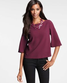 Crepe Bell Sleeve Top - see my purple blister pearl necklace