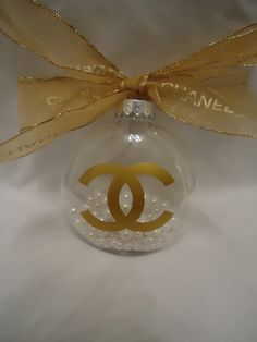 my new Chanel gold inspired Christmas tree ornament with pearls and authentic Chanel ribbon