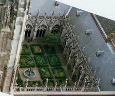 cloister garden at St. Martin Cathedral in Utrecht, Netherlands