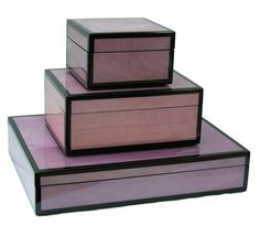 Purple Lacquer Dressing Table / Desk Boxes  Courtesy of InStyle-Decor.com Beverly Hills Inspiring & supporting Hollywood interior design professionals and fans, sharing beautiful luxe home decor inspirations, trending 1st in Hollywood Repin, Share & Enjoy