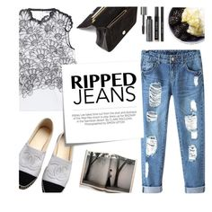 """""""Ripped Jeans - Thursday"""" by kelly-m-o ❤ liked on Polyvore featuring Issa, Chicnova Fashion, Chanel, Post-It, Kershaw, Jérôme Dreyfuss and Bobbi Brown Cosmetics"""
