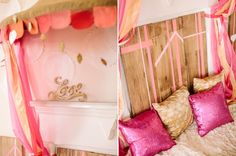 """gold glitter """"love"""" sign and pink and gold pillows"""