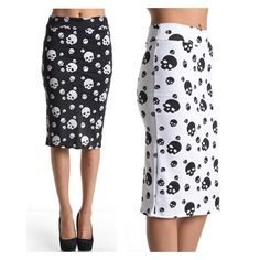 Skull Print Office High Waist Knee Length Straight Pencil Slim Skirt - Actual Images of item are shown above - Size Type: Regular Special Style: Ponte Knit Pencil Stretch Bodycon Slim Skirt with Waist