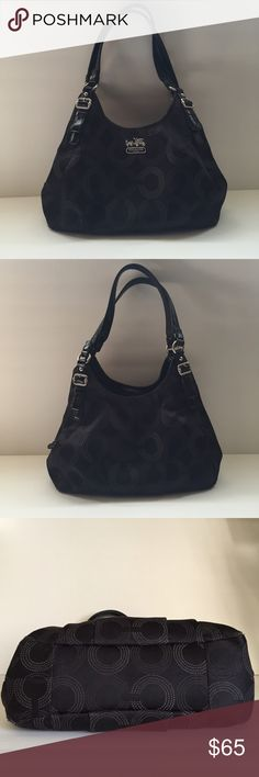 COACH Op Art Maggie Handbag Bag is black canvas with black/gray op art logos. Silver hardware. Lining is a beautiful blue satin. Interior has 3 compartments with 1-zippered pocket and 2-slip pockets. Magnetic snap closure. Good condition but is starting to show signs of wear on the bottom 4-corners and on the side of the handles (captured in last picture). Inside also has some pen marks - did not photograph well because of the dark lining. ***NO TRADES*** Coach Bags Satchels