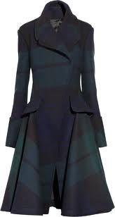 Tartan Origami Wool Capped Sleeve Dress