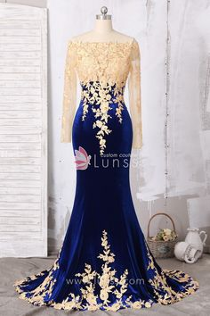 Gold Lace Appliqued Illusion Long Sleeve Fit n flare Royal Blue Velvet Prom Dress 1 Blue And Gold Dress, Royal Blue Prom Dresses, Gold Prom Dresses, Best Prom Dresses, Prom Dresses For Sale, Blue Wedding Dresses, Mermaid Prom Dresses, Quinceanera Dresses, Strapless Dress Formal