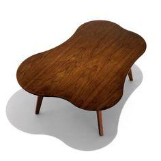 "Risom Amoeba Shaped Coffee Table, 42""W X 32""D X 16""H, $1,093"