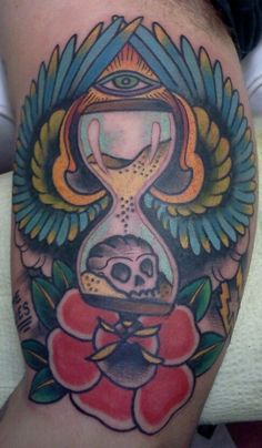 time flies,hourglass and all seeing eye tattoo by Justin Dion in Portland Oregon at Anatomy Tattoo  www.justindion.com  #tattoo #tattoos