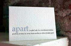 i miss you letterpress definition card by shopsaplingpress on Etsy, $4.50