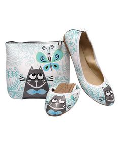 Love this White & Teal Cat & Butterfly Foldable Ballet Flat & Carrying Case on #zulily! #zulilyfinds