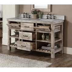Rustic Style 60-inch Single Sink Bathroom Vanity and Matching Wall Mirrors
