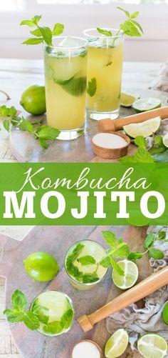 Kombucha Mojito Cocktails mit frischer Minze Limettensaft Zucker und All Things Healthy Best Kombucha, Kombucha Cocktail, How To Brew Kombucha, Kombucha Recipe, Mojito Cocktail, Mojito Recipe, Kombucha Brewing, Kombucha Flavors, Fun Cocktails