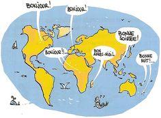 La langue française est parlée sur tous les continents.