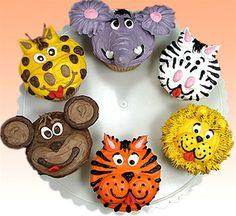 """""""Call of the Wild"""" Jungle Cupcakes by Susan Carberry - These are not your Grandma's cupcakes! Just imagine the reaction when you present these gems at a party!  Cupcakes have turned into a fun art form, and Susan spares no imagination bringing these treats to you."""