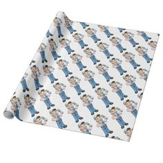 Cartoon Woman Painter Decorator Character Wrapping Paper - construction business diy customize personalize