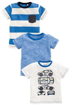 Buy Blue/Ecru Car T-Shirt Three Pack (3mths-6yrs) from the Next UK online shop