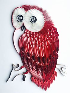 Red Velvet Owl - Unique Paper Quilled Wall Art for Home Decor (paper quilling handcrafted art piece made with love by artist in California) Paper Quilling For Beginners, Paper Quilling Tutorial, Paper Quilling Flowers, Paper Quilling Cards, Paper Quilling Patterns, Quilled Paper Art, Paper Owls, Quilling Ideas, Paper Clay