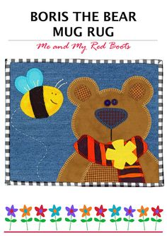 Boris the Bear Mug Rug PDF Pattern by TheRedBootQuiltCo on Etsy