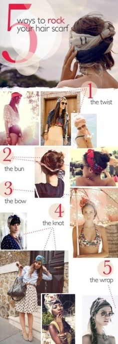 5 ways to rock your hair scarf! Click to check out our blog for more inspiration