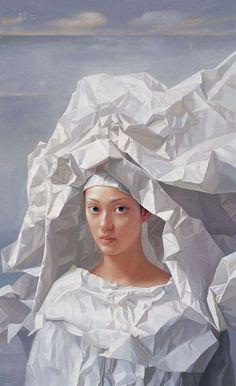 Women In Art History — Paper Bride, Zeng Chuanxing Figure Painting, Painting & Drawing, Kunst Online, Art Brut, Foto Art, Ap Art, Art Plastique, Portrait Art, Portraits