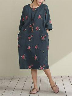 Sale 14% (30.49$) - Vintage Women Floral Printed Half Sleeve Pocket Dresses