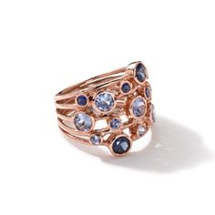 J7343 Ippolita 18k Rose Gold Rock Candy Constellation Ring in Blue Sapphire
