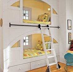 I like the idea of 1 ladder that can roll all the way across 2 bunks Kid's Room: Rolling Ladder < Creative Ideas for Kids' Rooms and Nurseries - Southern Living Mobile Cool Bunk Beds, Kids Bunk Beds, Unique Bunk Beds, Loft Beds, Girls Bedroom, Bedroom Decor, Bedroom Ideas, Girl Room, Master Bedroom