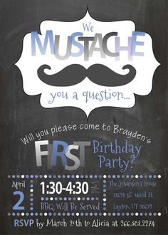 Mustache Birthday Invite Moustache Birthday by TwistedSisterShop