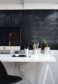Nice use if chalkboard at a desk. A Merry Mishap