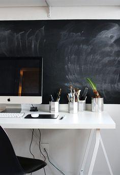 chalkboard wall + white desk space