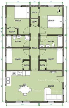 Cuatro dormitorios dos baños Sims 4 House Plans, Bungalow House Plans, Cottage House Plans, Best House Plans, Dream House Plans, Modern House Plans, Square House Plans, Small House Floor Plans, 30x40 House Plans