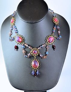 Handmade Czech Faux Fire Opal Necklace by cksgifts
