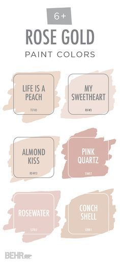 View your life through rose-colored glasses with this rose gold color palette from BEHR Paint. These light blush hues are a subtle, elegant way to bring some color into your home. Explore different color options like Life Is A Peach, Pink Quartz, and Conch Shell to find the perfect shade to fit your style. Pair these modern pastel colors with light grays and creams to create a glamorous look in your home.