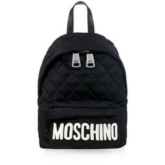 Moschino Lettering nylon and leather backpack ($476) ❤ liked on Polyvore featuring bags, backpacks, borse, black white, quilted bag, leather backpack, real leather backpack, moschino and quilted leather bag