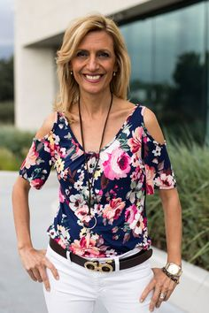 Navy Pink Floral Cold Shoulder Knit Top $48.00 www.jacketsociety.com
