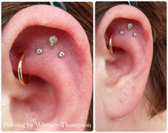 piercingbywhitney:  Fresh Triple Helix with 14k Yellow Gold Pave Teardrop with CZ and two lower CZ gems to accent. Jewelry from BVLA & NEOMETAL.
