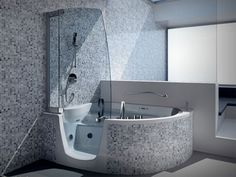 Splendid Corner Step-in Whirlpool Tub With Modern Steam Shower Tub Combo And Clear Glass Screen Shower In Gray Bathroom Decorating Designs