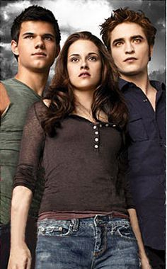 Taylor Lautner, Kristen Stewart and Robert Pattinson as Jacob, Bella and Edward from Stephenie Meyer's 'Twilight' series
