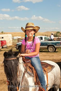 Crow Fair, Indian rodeo, Young cowgirl, Crow Indian Reservation, Montana