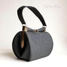 Vintage 1940s Black Box Purse Handbag Early Plastic Faux Cordé by UpStagedVintage on Etsy