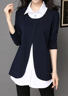 Turndown Collar Navy Blue Faux Two Piece Blouse on sale only US$33.00 now, buy cheap Turndown Collar Navy Blue Faux Two Piece Blouse at liligal.com