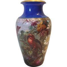 French  Paris Vase Hand Painted Landscape Scene w Birds, Large Daisies & Foliage Artist Signed c 1890