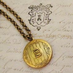 MONOGRAM NECKLACE LOCKET Gold Initial Necklace Jewelry Monogrammed Gifts. All Letters: A B C D E F G H I J K L M N O P Q R S T U V W X Y Z on Etsy, $34.95