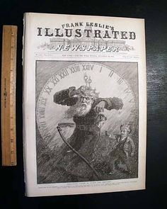 """""""Twenty-Four O'Clock, or Father time Perplexed""""... FRANK LESLIE'S ILLUSTRATED, New York, December 29, 1883, newspaper..."""