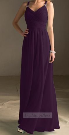 Dark Purple Long Bridesmaid Dress Chiffon A-line with Straps on Etsy, £78.11