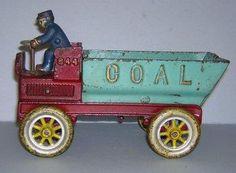 """~~8.5"""" - Kenton Working Cast Iron Toy Coal Dump Truck~~"""