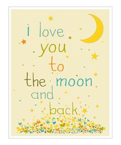 Take a look at this Cream & Blue 'I Love You to the Moon' Giclée Print by Finny and Zook on #zulily today!